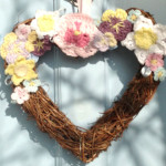 Crochet spring flowers heart wreath