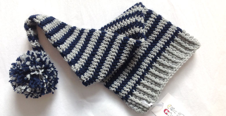 Navy and Grey Stripe Elf Hat
