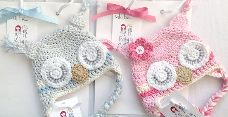Newborn twin owl hats