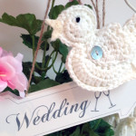 Crochet handmade wedding birds